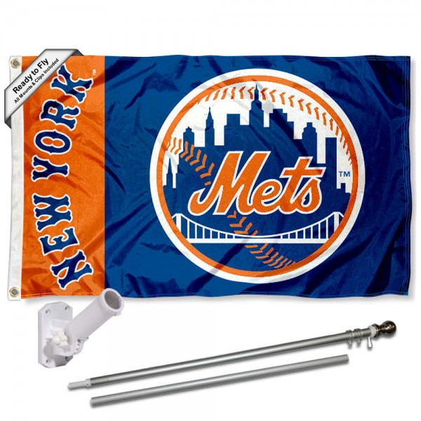Our New York Mets Flag Pole and Bracket Kit includes the flag as shown and the recommended flagpole and flag bracket. The flag is made of polyester, has quad-stitched flyends, and the MLB Licensed team logos are double sided screen printed. The flagpole and bracket are made of rust proof aluminum and includes all hardware so this kit is ready to install and fly.