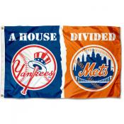 New York Mets vs. NY Yankees Divided Flag
