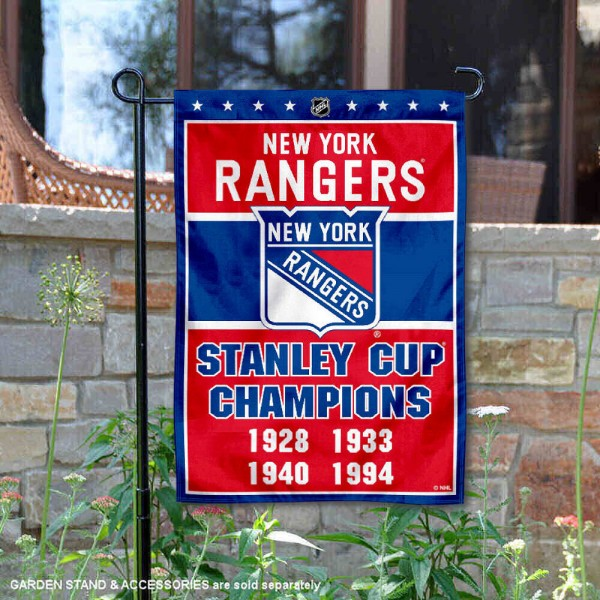 New York Rangers 4 Time Stanley Cup Champions Garden Flag is 12.5x18 inches in size, is made of 2-ply polyester, and has two sided screen printed logos and lettering. Available with Express Next Day Ship, our New York Rangers 4 Time Stanley Cup Champions Garden Flag is NHL Officially Licensed and is double sided.