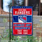 New York Rangers 4 Time Stanley Cup Champions Garden Flag
