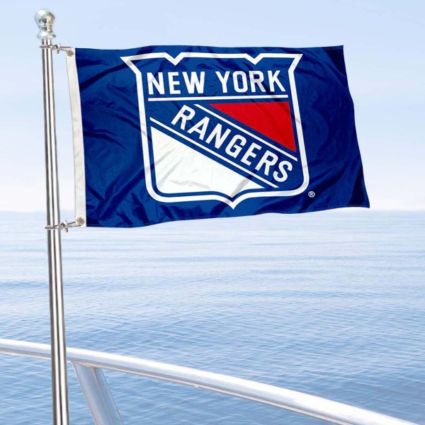 "Our New York Rangers Boat and Nautical Flag is 12""x18"", made of three-ply poly, has a solid header with two metal grommets, and is double sided. This Boat and Nautical Flag for New York Rangers is Officially Licensed by the NHL and can also be used as a motorcycle flag, boat flag, golf cart flag, or recreational flag."