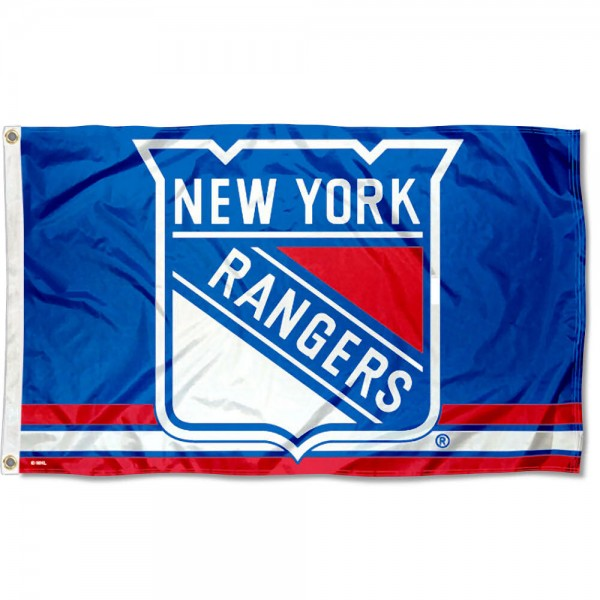 The New York Rangers Flag is four-stitched bordered, double sided, made of poly, 3'x5', and has two grommets. These New York Rangers Flags are NHL Genuine Merchandise.