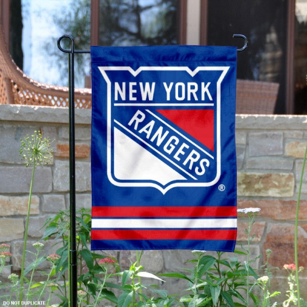 New York Rangers Garden Flag is 12.5x18 inches in size, is made of 2-ply polyester, and has two sided screen printed logos and lettering. Available with Express Next Day Ship, our New York Rangers Garden Flag is NHL Officially Licensed and is double sided.