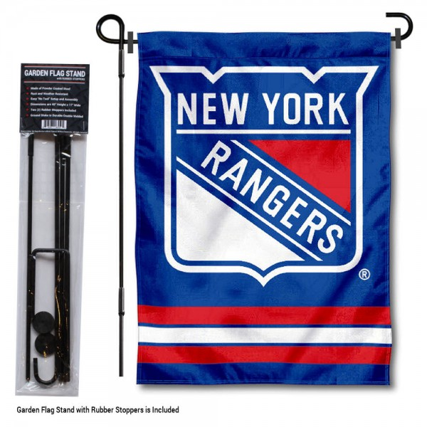 "New York Rangers Garden Flag and Flagpole Stand kit includes our 12.5""x18"" garden banner which is made of 2 ply poly with liner and has screen printed licensed logos. Also, a 40""x17"" inch garden flag stand is included so your New York Rangers Garden Flag and Flagpole Stand is ready to be displayed with no tools needed for setup. Fast Overnight Shipping is offered and the flag is Officially Licensed and Approved by the selected team."
