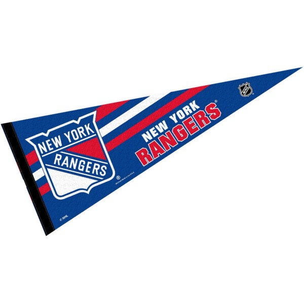 New York Rangers NHL Pennant is our full size 12x30 inch pennant which is made of felt, is single sided screen printed, and is perfect for decorating at home or office. Display your NHL hockey allegiance with this NHL Genuine Merchandise item.