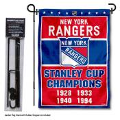 New York Rangers Stanley Cup Champions Garden Banner and Flagpole Holder Stand