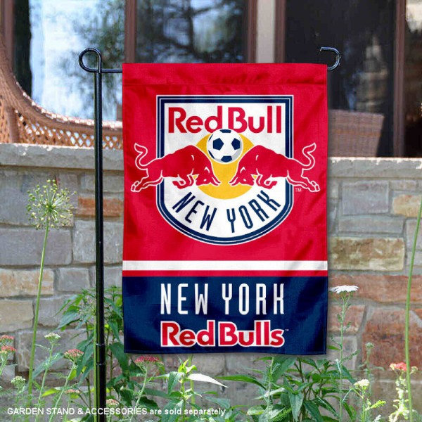 New York Red Bull Garden Flag is 12.5x18 inches in size, is made of 2-ply polyester, and has two sided screen printed logos and lettering. Available with Express Next Day Shipping, our New York Red Bull Garden Flag is MLS Genuine Merchandise and is double sided.