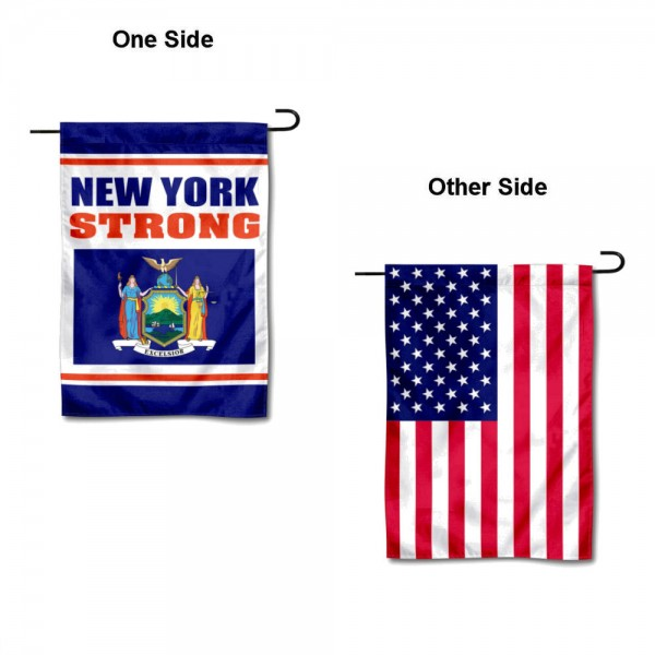 New York Strong USA Garden Flag is 13x18 inches in size, is made of 1-layer 300d polyester, screen printed logos and lettering, and is viewable on both sides. Available same day shipping, our New York Strong USA Garden Flag is a great addition to your decorative garden flag selections.