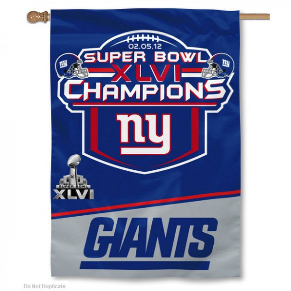New York Super Bowl Champions House Flag measures 28x40 inches in size, is made of 2-ply polyester, and is fully double-sided. This New York Super Bowl Champions House Flag is an NFL officially licensed banner flag.