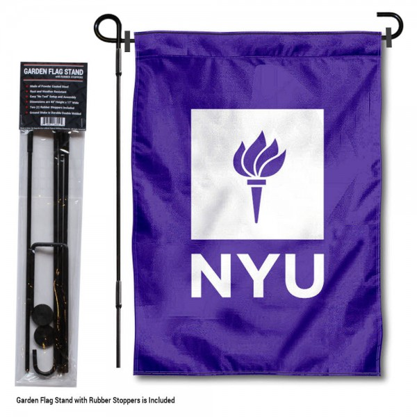 "New York University Garden Flag and Stand kit includes our 13""x18"" garden banner which is made of 2 ply poly with liner and has screen printed licensed logos. Also, a 40""x17"" inch garden flag stand is included so your New York University Garden Flag and Stand is ready to be displayed with no tools needed for setup. Fast Overnight Shipping is offered and the flag is Officially Licensed and Approved by the selected team."