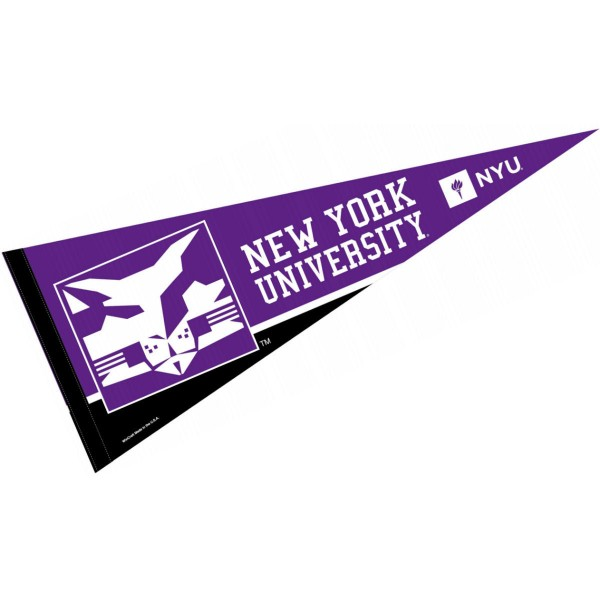 New York University Pennant consists of our full size sports pennant which measures 12x30 inches, is constructed of felt, is single sided imprinted, and offers a pennant sleeve for insertion of a pennant stick, if desired. This New York University Felt Pennant is officially licensed by the selected university and the NCAA.