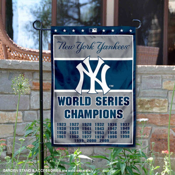 New York Yankees 27-Time World Series Champions Garden Flag is 12.5x18 inches in size, is made of 2-ply polyester, and has two sided screen printed logos and lettering. Available with Express Next Day Shipping, our New York Yankees 27-Time World Series Champions Garden Flag is MLB Genuine Merchandise and is double sided.