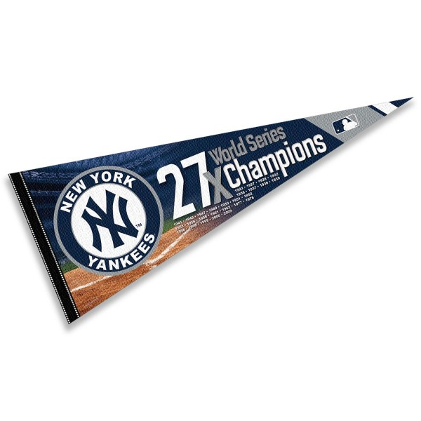 This New York Yankees 27 Time World Series Champions Pennant measures 12x30 inches, is constructed of felt, and is single sided screen printed with the New York Yankees logo and insignia. Each New York Yankees 27 Time World Series Champions Pennant is a MLB Genuine Merchandise product.