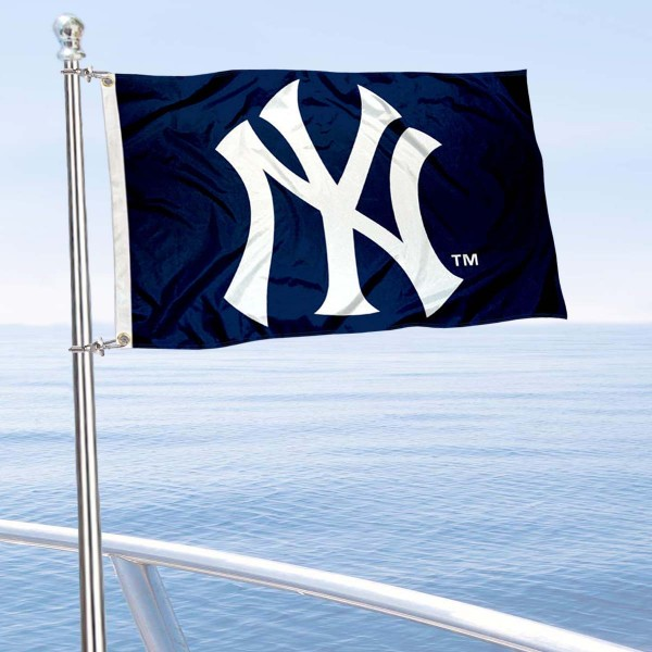 "Our New York Yankees Boat and Nautical Flag is 12""x18"", made of three-ply poly, has a solid header with two metal grommets, and is double sided. This Boat and Nautical Flag for New York Yankees is Officially Licensed by the MLB and can also be used as a motorcycle flag, boat flag, golf cart flag, or recreational flag."