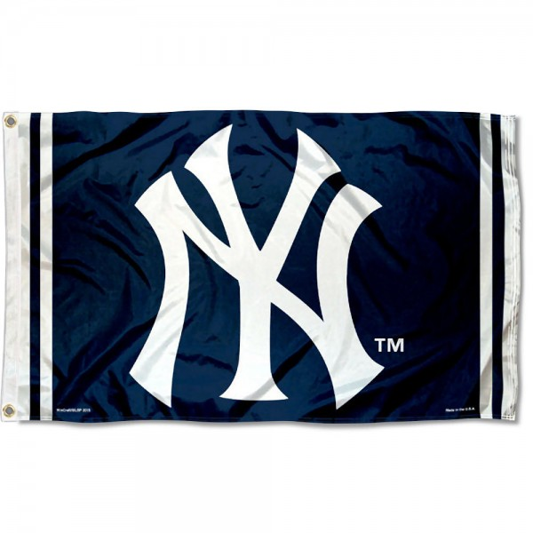 Our New York Yankees NY Flag is double sided, made of poly, 3'x5', has two grommets, and four-stitched fly ends. These New York Yankees NY Flags are Officially Licensed by the MLB.
