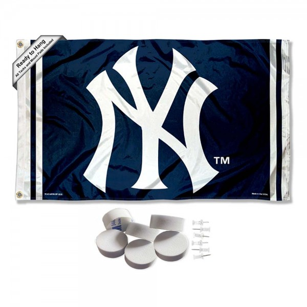 Our New York Yankees NY Logo Banner Flag with Tack Wall Pads is double sided, made of poly, 3'x5', has two metal grommets, indoor or outdoor, and four-stitched fly ends. These New York Yankees NY Logo Banner Flag with Tack Wall Padss are Officially Approved by the Boston Bruins. Tapestry Wall Hanging Tack Pads which include a 6 pack of banner display pads with 6 tacks allowing you to hang your pennant on any wall damage-free.