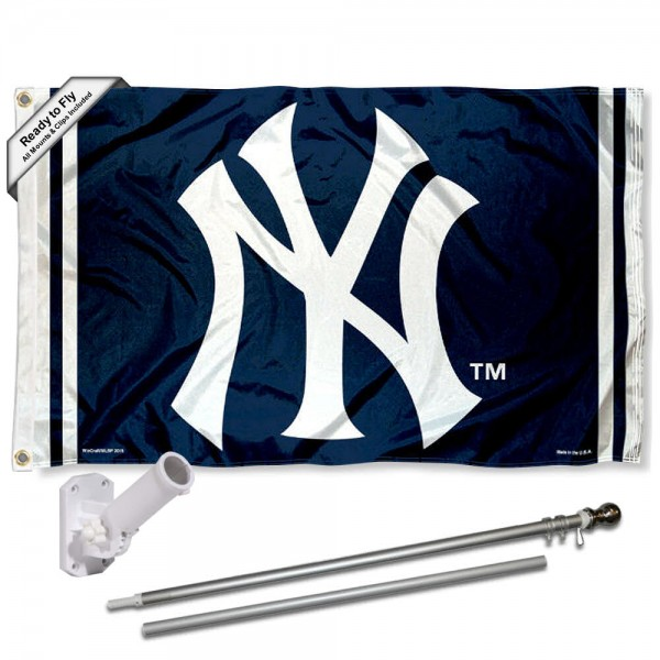 Our New York Yankees NY Logo Flag Pole and Bracket Kit includes the flag as shown and the recommended flagpole and flag bracket. The flag is made of polyester, has quad-stitched flyends, and the MLB Licensed team logos are double sided screen printed. The flagpole and bracket are made of rust proof aluminum and includes all hardware so this kit is ready to install and fly.