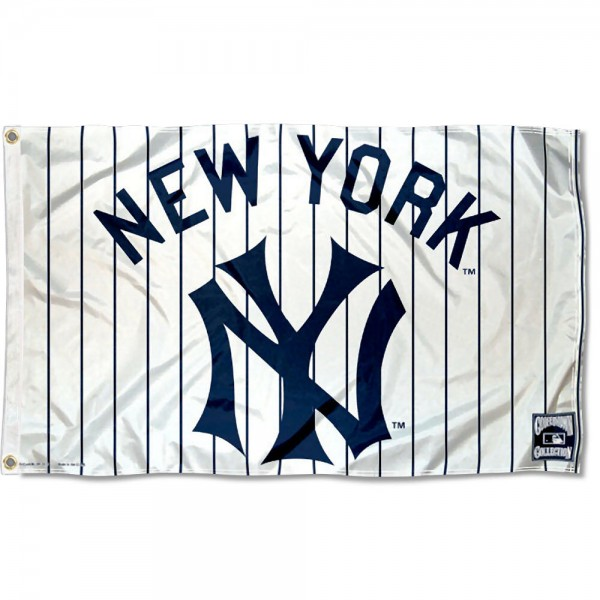 Our New York Yankees Vintage Flag is double sided, made of poly, 3'x5', has two grommets, and four-stitched fly ends. These New York Yankees Vintage Flags are Officially Licensed by the MLB.