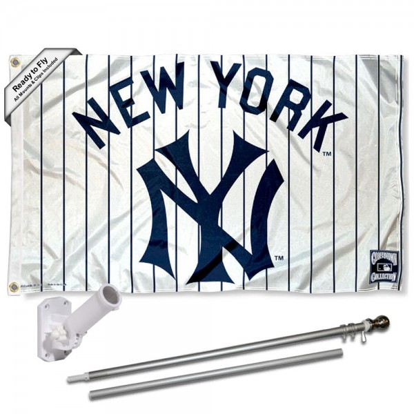 Our New York Yankees Vintage Flag Pole and Bracket Kit includes the flag as shown and the recommended flagpole and flag bracket. The flag is made of polyester, has quad-stitched flyends, and the MLB Licensed team logos are double sided screen printed. The flagpole and bracket are made of rust proof aluminum and includes all hardware so this kit is ready to install and fly.