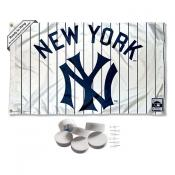 New York Yankees Vintage Pinstripes Banner Flag with Tack Wall Pads