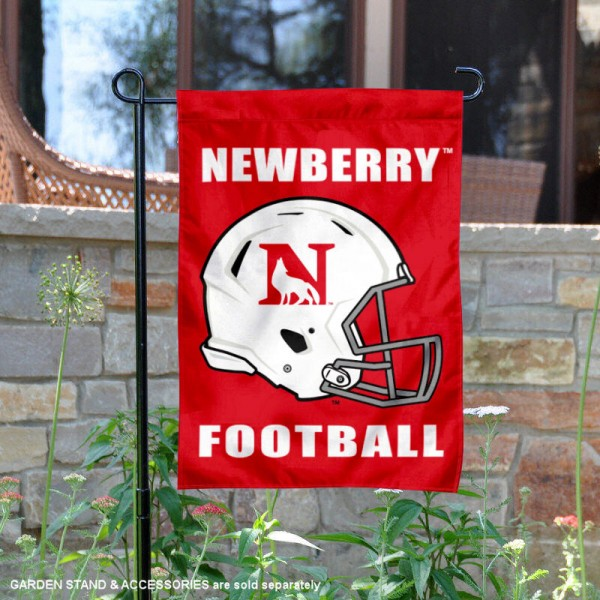 Newberry College Football Helmet Garden Banner is 13x18 inches in size, is made of 2-layer polyester, screen printed Newberry College athletic logos and lettering. Available with Same Day Express Shipping, Our Newberry College Football Helmet Garden Banner is officially licensed and approved by Newberry College and the NCAA.
