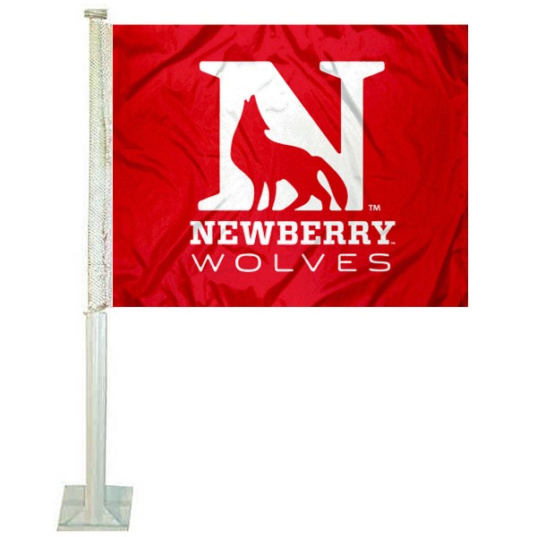 Newberry Wolves Logo Car Flag measures 12x15 inches, is constructed of sturdy 2 ply polyester, and has screen printed school logos which are readable and viewable correctly on both sides. Newberry Wolves Logo Car Flag is officially licensed by the NCAA and selected university.