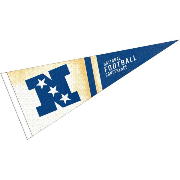 NFC Conference Pennant is 12x30 inches in size, is made of a soft wool/felt blend, has a sewn sleeve for insertion of a pennant stick, and screen printed team logos. These NFC Conference Pennants are officially licensed.