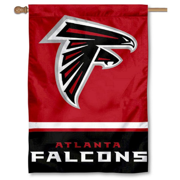 NFL Atlanta Falcons Two Sided House Banner is screen printed with Atlanta Falcons logos, is made of 2-ply 100% polyester, and is two sided and double sided. Our banners measure 28x40 inches and hang vertically with a top pole sleeve to insert your banner pole or flagpole.