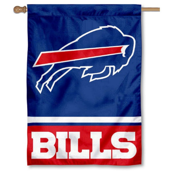 NFL Buffalo Bills Two Sided House Banner is screen printed with Buffalo Bills logos, is made of 2-ply 100% polyester, and is two sided and double sided. Our banners measure 28x40 inches and hang vertically with a top pole sleeve to insert your banner pole or flagpole.
