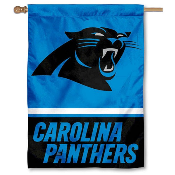 NFL Carolina Panthers Two Sided House Banner is screen printed with Carolina Panthers logos, is made of 2-ply 100% polyester, and is two sided and double sided. Our banners measure 28x40 inches and hang vertically with a top pole sleeve to insert your banner pole or flagpole.