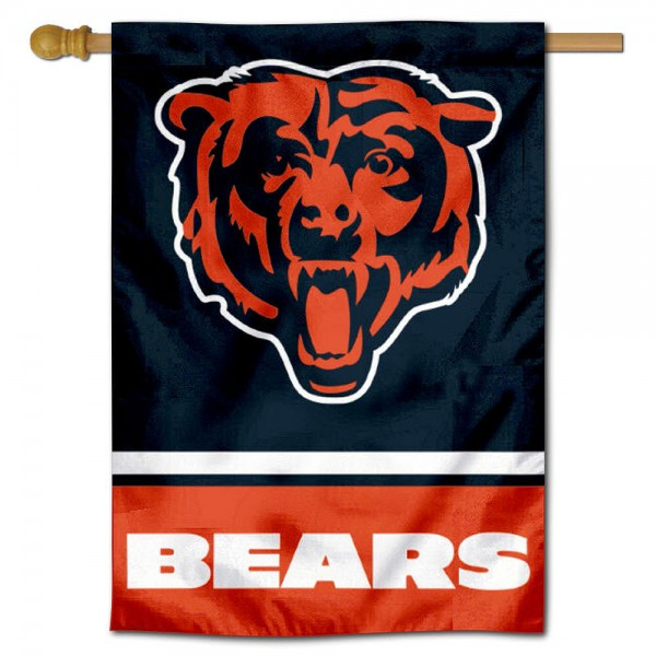 NFL Chicago Bears Two Sided House Banner is screen printed with Chicago Bears logos, is made of 2-ply 100% polyester, and is two sided and double sided. Our banners measure 28x40 inches and hang vertically with a top pole sleeve to insert your banner pole or flagpole.