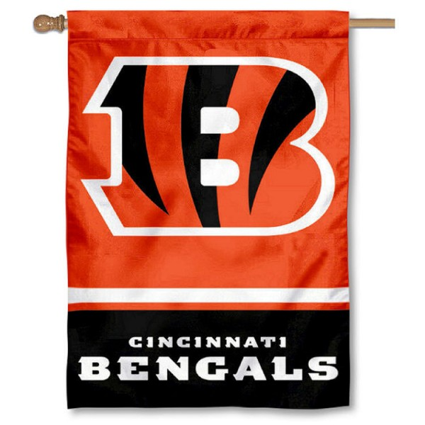NFL Cincinnati Bengals Two Sided House Banner is screen printed with Cincinnati Bengals logos, is made of 2-ply 100% polyester, and is two sided and double sided. Our banners measure 28x40 inches and hang vertically with a top pole sleeve to insert your banner pole or flagpole.