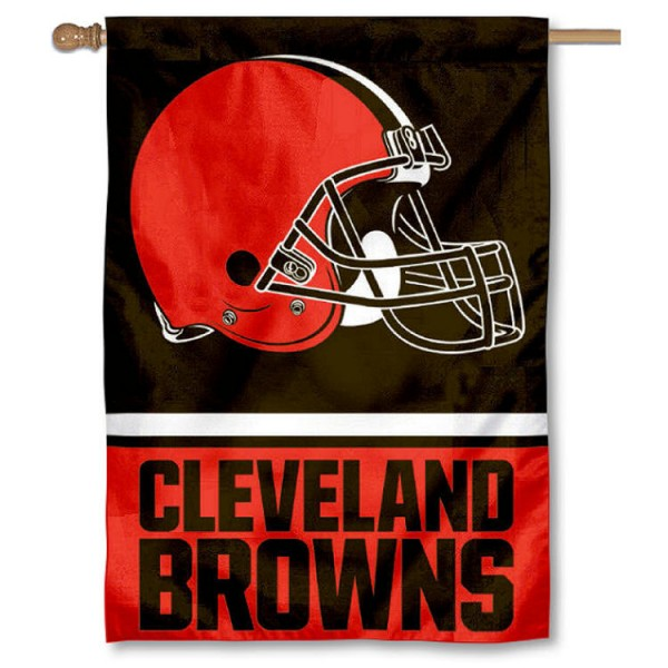 NFL Cleveland Browns Two Sided House Banner is screen printed with Cleveland Browns logos, is made of 2-ply 100% polyester, and is two sided and double sided. Our banners measure 28x40 inches and hang vertically with a top pole sleeve to insert your banner pole or flagpole.