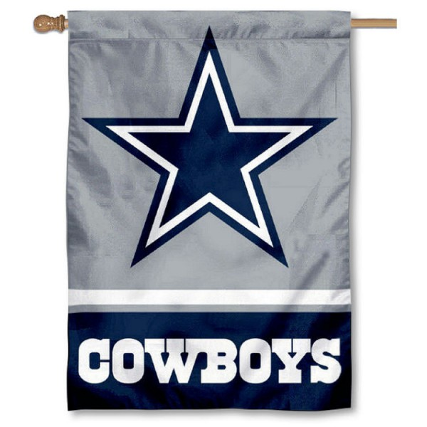 NFL Dallas Cowboys Two Sided House Banner is screen printed with Dallas Cowboys logos, is made of 2-ply 100% polyester, and is two sided and double sided. Our banners measure 28x40 inches and hang vertically with a top pole sleeve to insert your banner pole or flagpole.