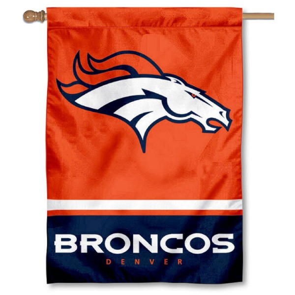 NFL Denver Broncos Two Sided House Banner is screen printed with Denver Broncos logos, is made of 2-ply 100% polyester, and is two sided and double sided. Our banners measure 28x40 inches and hang vertically with a top pole sleeve to insert your banner pole or flagpole.