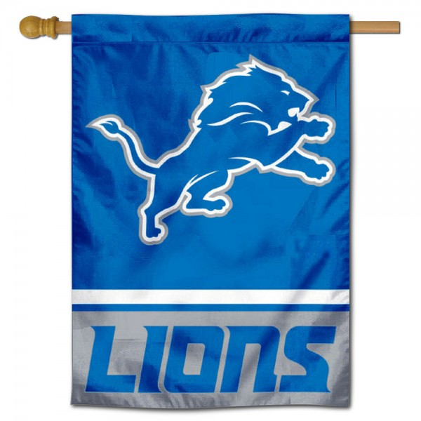 NFL Detroit Lions Double Sided House Banner is screen printed with Detroit Lions logos, is made of 2-ply 100% polyester, and is two sided and double sided. Our banners measure 28x40 inches and hang vertically with a top pole sleeve to insert your banner pole or flagpole.