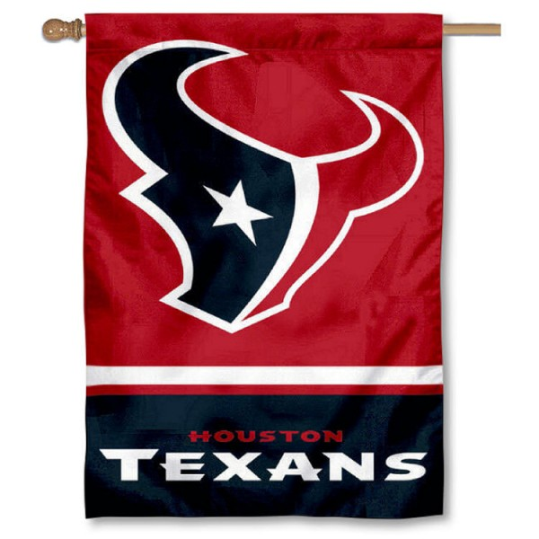 NFL Houston Texans Two Sided House Banner is screen printed with Houston Texans logos, is made of 2-ply 100% polyester, and is two sided and double sided. Our banners measure 28x40 inches and hang vertically with a top pole sleeve to insert your banner pole or flagpole.