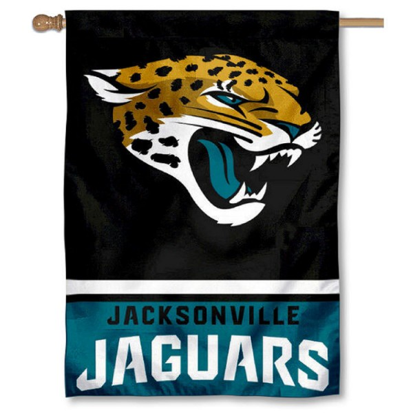 NFL Jacksonville Jaguars Two Sided House Banner is screen printed with Jacksonville Jaguars logos, is made of 2-ply 100% polyester, and is two sided and double sided. Our banners measure 28x40 inches and hang vertically with a top pole sleeve to insert your banner pole or flagpole.