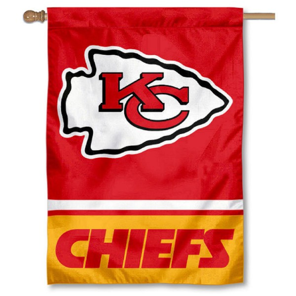 NFL Kansas City Chiefs Two Sided House Banner is screen printed with Kansas City Chiefs logos, is made of 2-ply 100% polyester, and is two sided and double sided. Our banners measure 28x40 inches and hang vertically with a top pole sleeve to insert your banner pole or flagpole.