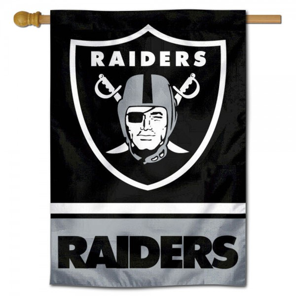 NFL Las Vegas Raiders Two Sided House Banner is screen printed with Las Vegas Raiders logos, is made of 2-ply 100% polyester, and is two sided and double sided. Our banners measure 28x40 inches and hang vertically with a top pole sleeve to insert your banner pole or flagpole.