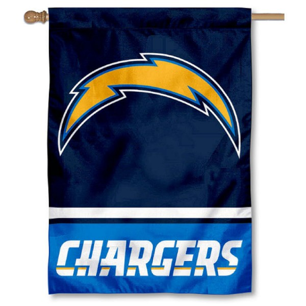 NFL Los Angeles Chargers Two Sided House Banner is screen printed with Los Angeles Chargers logos, is made of 2-ply 100% polyester, and is two sided and double sided. Our banners measure 28x40 inches and hang vertically with a top pole sleeve to insert your banner pole or flagpole.