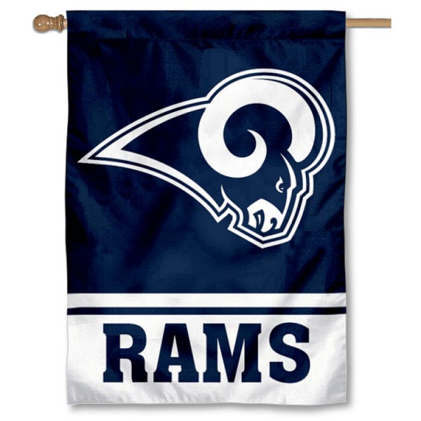 NFL Los Angeles Rams White Horns Double Sided House Banner is screen printed with Los Angeles Rams logos, is made of 2-ply 100% polyester, and is two sided and double sided. Our banners measure 28x40 inches and hang vertically with a top pole sleeve to insert your banner pole or flagpole.