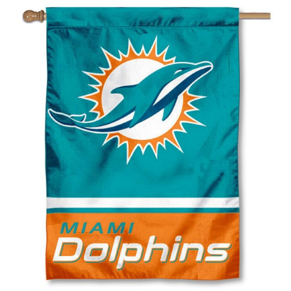 NFL Miami Dolphins Two Sided House Banner is screen printed with Miami Dolphins logos, is made of 2-ply 100% polyester, and is two sided and double sided. Our banners measure 28x40 inches and hang vertically with a top pole sleeve to insert your banner pole or flagpole.