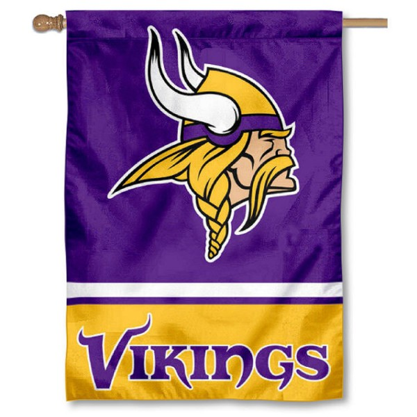 NFL Minnesota Vikings Two Sided House Banner is screen printed with Minnesota Vikings logos, is made of 2-ply 100% polyester, and is two sided and double sided. Our banners measure 28x40 inches and hang vertically with a top pole sleeve to insert your banner pole or flagpole.