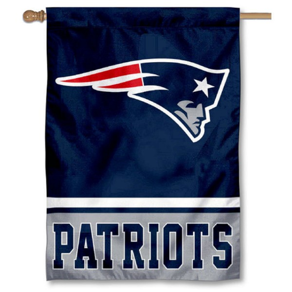 NFL New England Patriots Two Sided House Banner is screen printed with New England Patriots logos, is made of 2-ply 100% polyester, and is two sided and double sided. Our banners measure 28x40 inches and hang vertically with a top pole sleeve to insert your banner pole or flagpole.