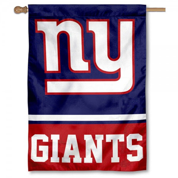 NFL New York Giants Two Sided House Banner is screen printed with New York Giants logos, is made of 2-ply 100% polyester, and is two sided and double sided. Our banners measure 28x40 inches and hang vertically with a top pole sleeve to insert your banner pole or flagpole.
