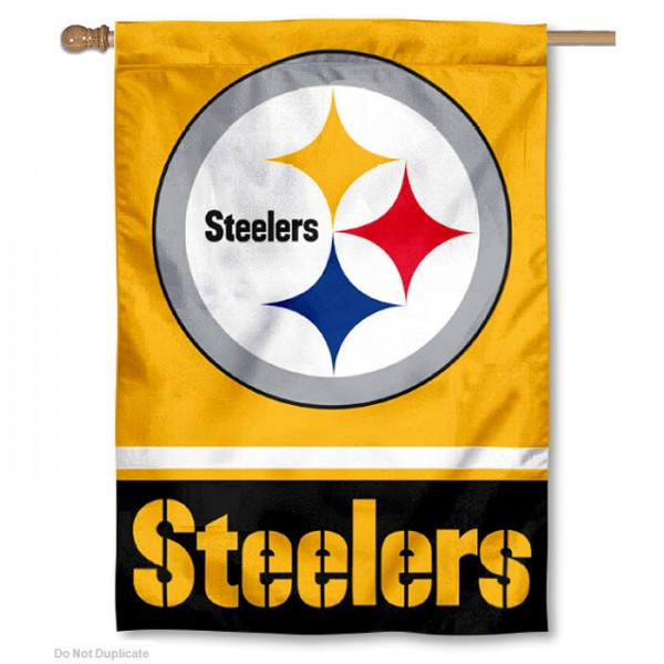 NFL Pittsburgh Steelers Gold Double Sided House Banner is screen printed with Pittsburgh Steelers logos, is made of 2-ply 100% polyester, and is two sided and double sided. Our banners measure 28x40 inches and hang vertically with a top pole sleeve to insert your banner pole or flagpole.