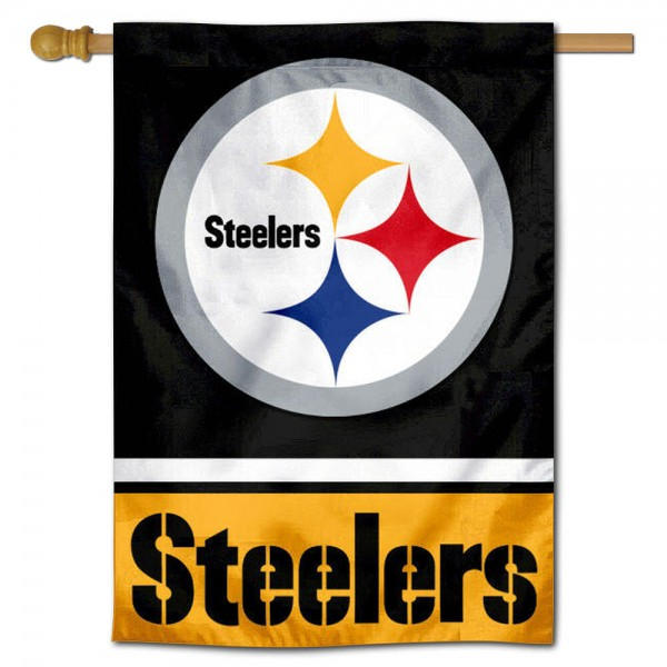 NFL Pittsburgh Steelers Two Sided House Banner is screen printed with Pittsburgh Steelers logos, is made of 2-ply 100% polyester, and is two sided and double sided. Our banners measure 28x40 inches and hang vertically with a top pole sleeve to insert your banner pole or flagpole.