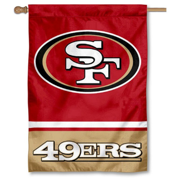NFL San Francisco 49ers Two Sided House Banner is screen printed with San Francisco 49ers logos, is made of 2-ply 100% polyester, and is two sided and double sided. Our banners measure 28x40 inches and hang vertically with a top pole sleeve to insert your banner pole or flagpole.
