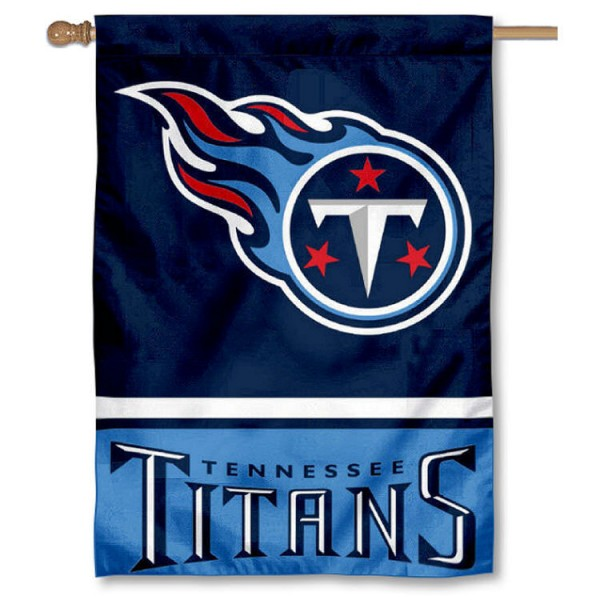 NFL Tennessee Titans Two Sided House Banner is screen printed with Tennessee Titans logos, is made of 2-ply 100% polyester, and is two sided and double sided. Our banners measure 28x40 inches and hang vertically with a top pole sleeve to insert your banner pole or flagpole.